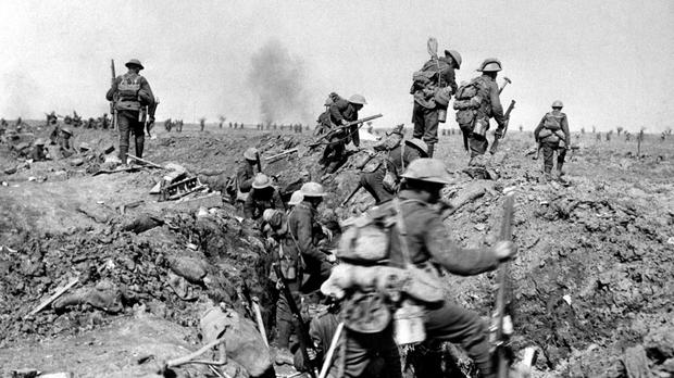 British troops negotiate a trench during the Battle of the Somme