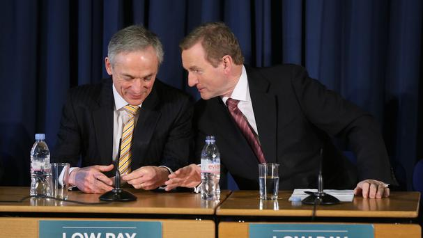 Enda Kenny (right) and Richard Bruton announced the new jobs