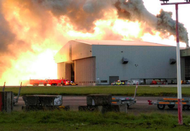 The fire in a hangar at Dublin Airport