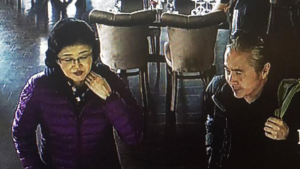 An image taken from CCTV of Japanese tourists Eiji Takagi, 63, and Ushio Azaki, 61, who have vanished from George's Head in Kilkee, Co Clare (An Garda Siochana/PA)