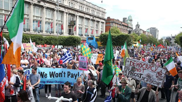 Tens of thousands of people have protested in Dublin against water charges