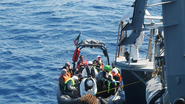Crew of the Irish Navy vessel Le Niamh rescue refugees in the ongoing humanitarian mission in the Mediterranean (Irish Defence Forces/PA)
