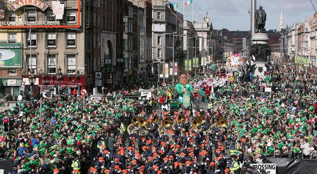 Dublin city centre during the annual St Patrick's Day Parade