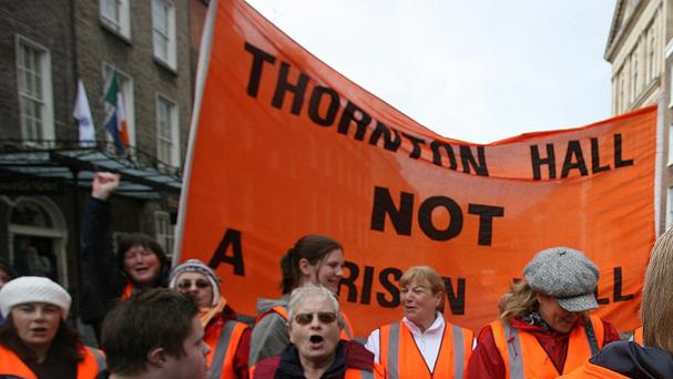 A protest in north Dublin against the development of Thornton Hall as a prison