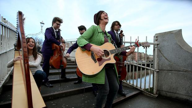 Singer-songwriter Eleanor McEvoy (second right) has helped the RTE Concert Orchestra top a Bachtrack poll as the world's favourite