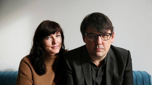 Graham Linehan and his wife Helen attend an Amnesty International event in Belfast calling for a change to Ireland's strict abortion laws