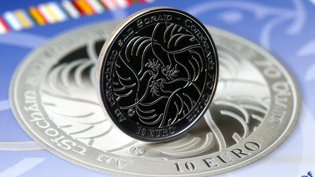The coin marks the 70th anniversary of peace in Europe (Jason Clarke Photography/PA)