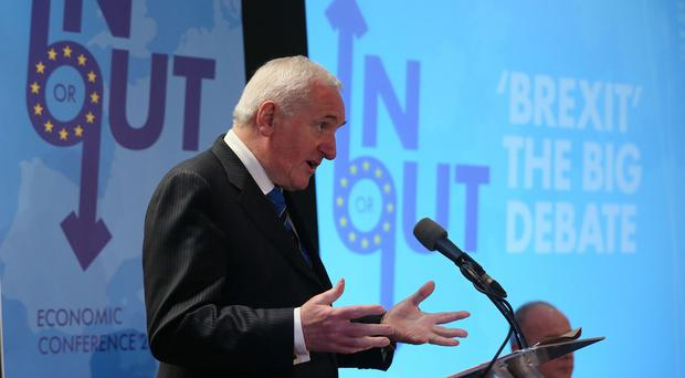 Former taoiseach Bertie Ahern speaking during the Brexit - The Big Debate at the Canal Court Hotel in Newry, Northern Ireland