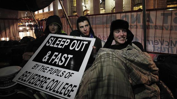 A sleepout on Connell Street, Dublin, in aid of homelessness charity The Peter McVerry Trust