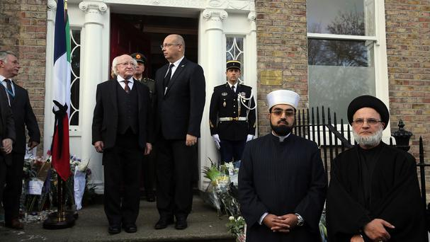 Left to right: Michael D Higgins, Jean Pierre Thebault, Muhammad Umar Al-Qadri and Ali al-Saleh outside the French Embassy in Dublin
