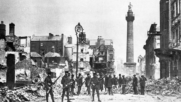 Scene from O'Connell Street in Dublin, during the Easter Rising