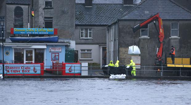 Sandbags are placed along the quayside in Athlone