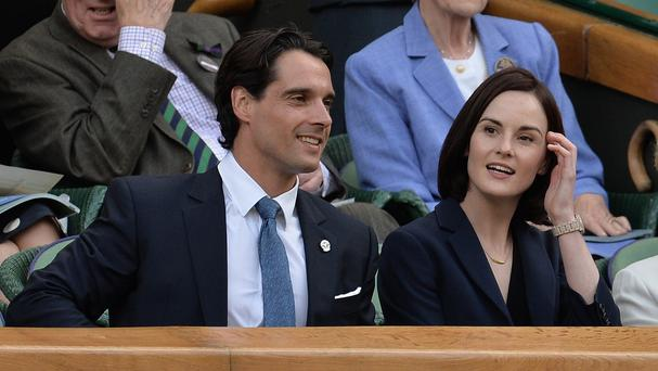 Michelle Dockery and John Dineen in the Royal Box on Centre Court at Wimbledon