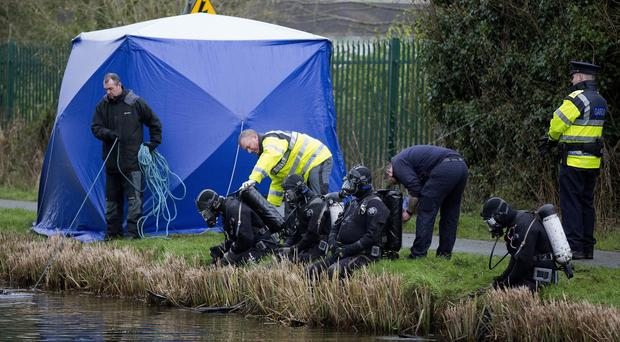 The Garda sub aqua unit at the scene near the village of Ardclough, Co Kildare