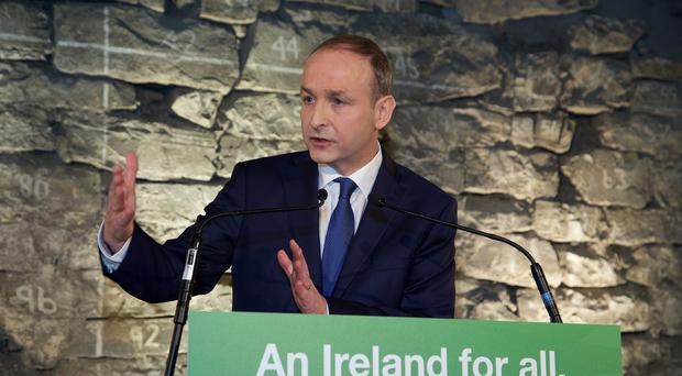 Micheal Martin at the launch of the Fianna Fail General Election Manifesto