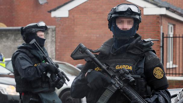 Armed Gardai from the forces Emergency Response Unit were on patrol for the funeral