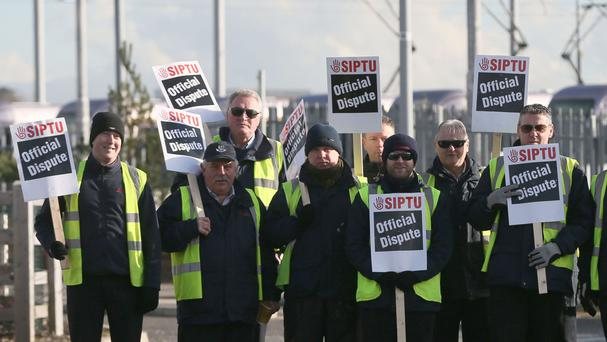 Luas drivers on a picket line in Sandyford, Dublin