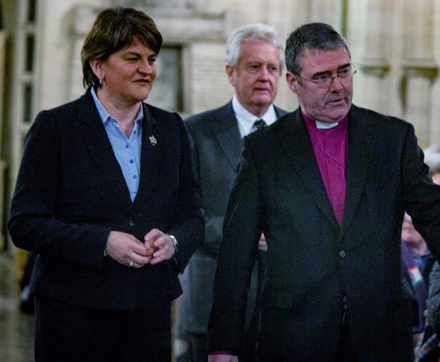 First Minister Arlene Foster with Bishop John McDowell and John Bowman and (right) with British Ambassador Dominic Chilcott