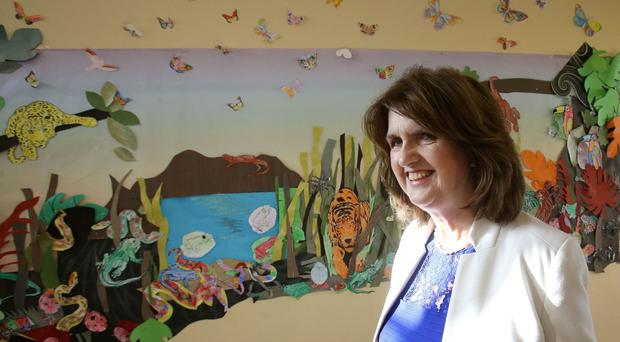 Tanaiste and Labour leader Joan Burton during a visit to Shellybanks Educate Together National School in Ballsbridge, Dublin