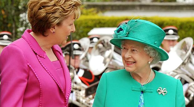 Mary McAleese with the Queen in Dublin