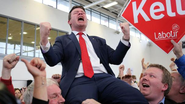 Labour's Alan Kelly celebrates being elected during the general election 2016 count at presentation Secondary school in Thurles, Tipperary