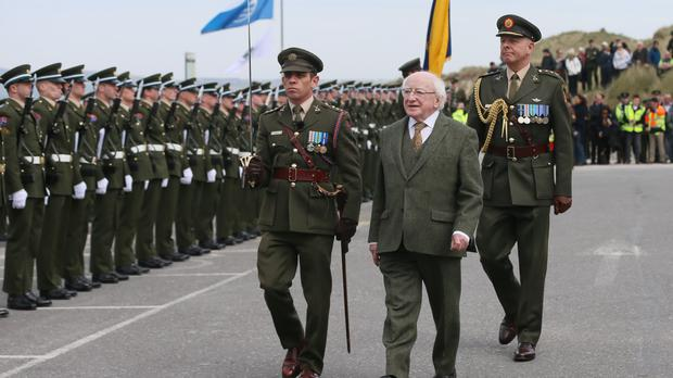 President Michael D Higgins arrives at Banna Strand in Co Kerry for the Sir Roger Casement commemoration