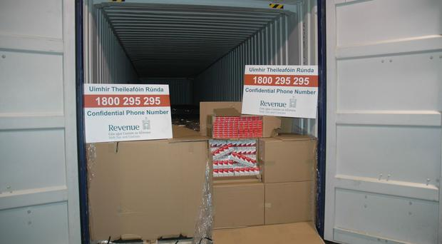 Some of the massive consignment of illegal cigarettes which has been stopped in Dublin (Irish Revenue and Customs/PA)