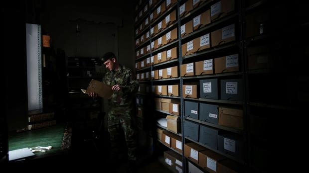 Archives in the reading room at Cathal Brugha Barracks in Dublin