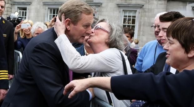 Enda Kenny is congratulated by his supporters