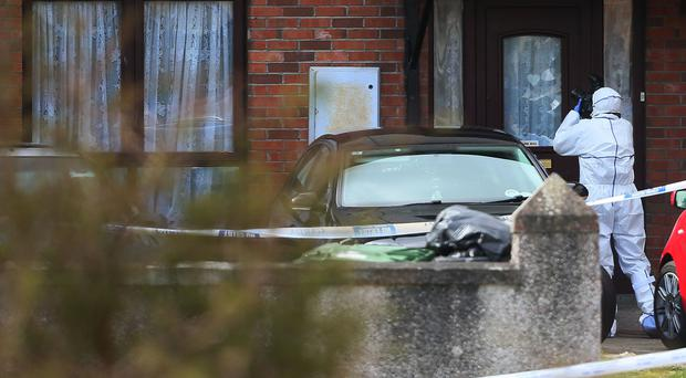 Forensic officers at the scene in Kilcronin Close, west Dublin, where a man, aged in his 30s, was gunned down in a gangland-style killing