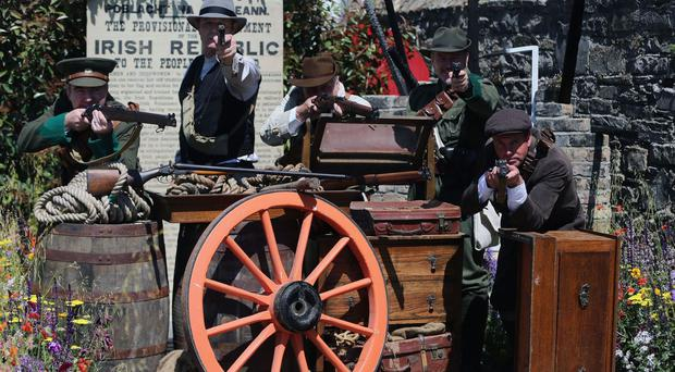 Re-enactors from the Ashbourne re-enactment group in the Bullets and Boiled sweets 1916 garden at the Bloom garden festival in Phoenix Park in Dublin