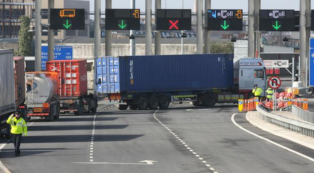 Yellow poles to hold the cameras are being erected in Dublin Port Tunnel this week.