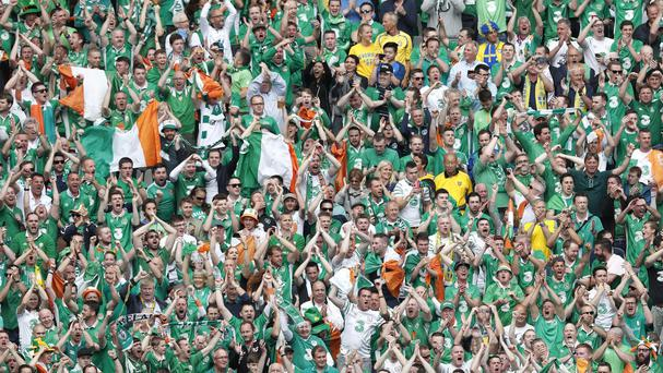 Irish supporters cheer their side on (AP)