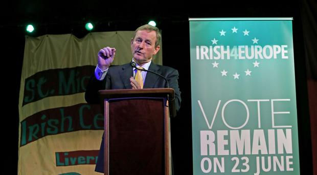 Taoiseach Enda Kenny speaks to the Irish community at St Michael's Irish centre in Liverpool, about the EU Vote.