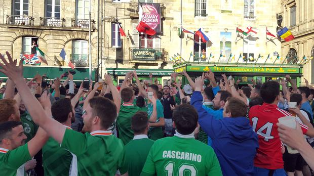 Irish fans in the picturesque French city of Bordeaux ahead of their match against Belgium