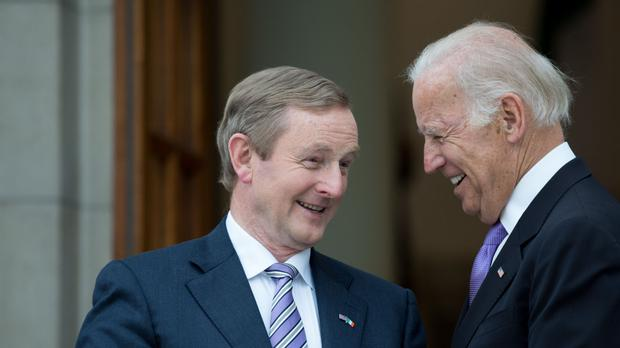 Enda Kenny welcomes US vice-president Joe Biden