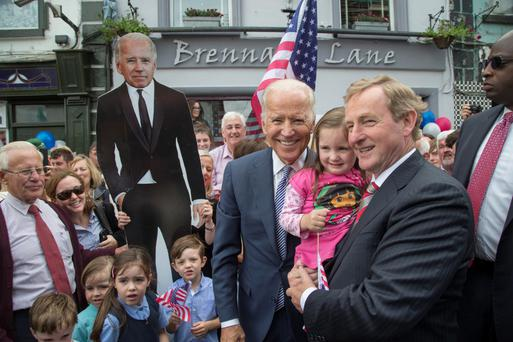 US vice-president Joe Biden with Taoiseach Enda Kenny and Amy Fox (3)