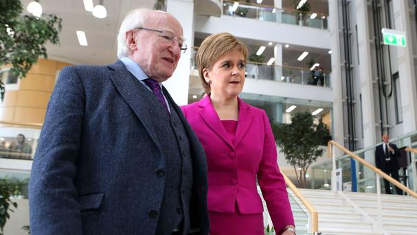Nicola Sturgeon meets President of Ireland Michael D Higgins on the first day of his visit to Scotland