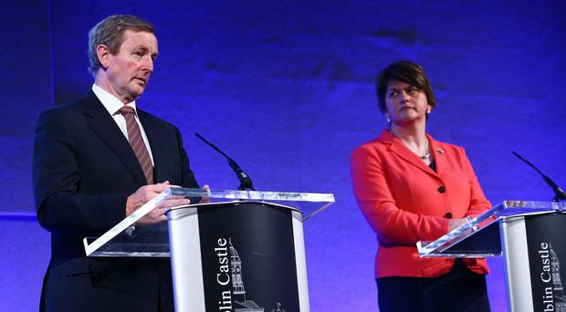 Taoiseach Enda Kenny and Northern Ireland First Minister Arlene Foster at the North South Ministerial Council in Dublin Castle