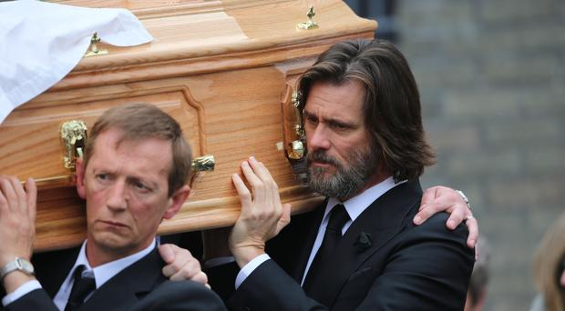Jim Carrey carried the coffin of ex-girlfriend Cathriona White, whose death has been declared suicide by a coroner
