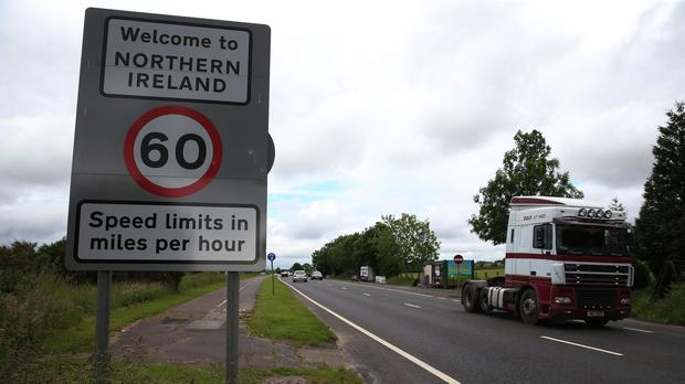 Traffic crosses the border between the Republic of Ireland and Northern Ireland in the village of Bridgend, Co Donegal