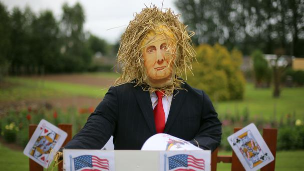 A scarecrow titled Trump Card at the Durrow Scarecrow Festival in Co Laois
