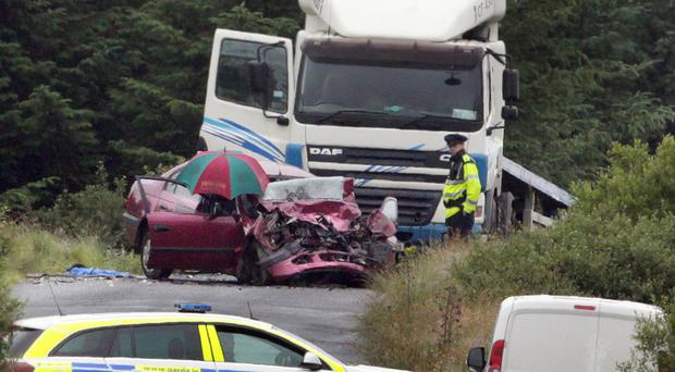 Left: scene of a triple fatal crash on the outskirts of Letterkenny yesterday morning