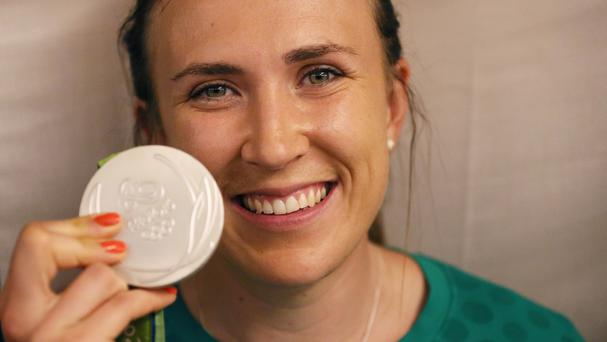 Annalise Murphy, who won a silver medal in the Women's Laser Radial Medal race at the 2016 Rio Olympic Games, arrives at Dublin airport.