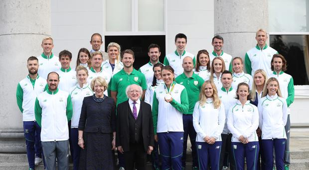 President Michael D Higgins and his wife Sabina as they host a reception in Aras an Uachtarain in Dublin for the Irish Olympic Team