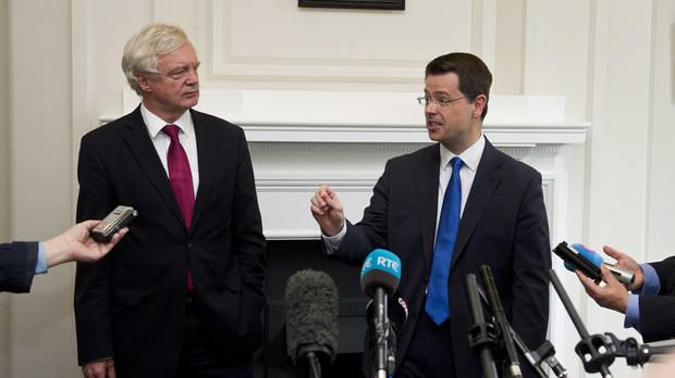 Brexit Secretary David Davis (left) and Northern Ireland Secretary James Brokenshire during a press conference at Stormont House in Belfast