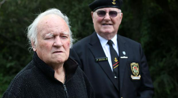 Pat O Mathuna, left, and William Mynes fought a fire saving 80 lives on the LE Cliona in 1962