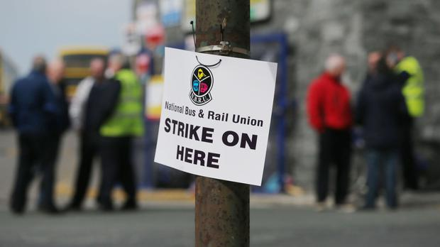 The walkout by members of the National Bus and Rail Union and Siptu is the first of three 48-hour stoppages planned for this month