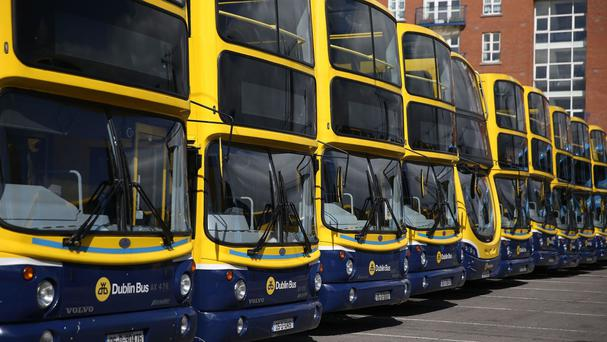Buses parked at Ringsend Bus depot in Dublin