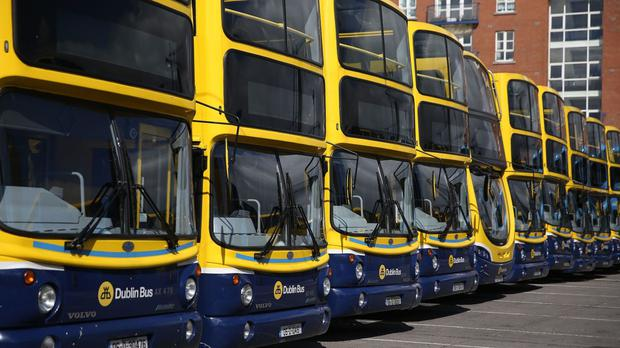 Dublin Bus vehicles parked at a depot, as a fresh 48-hour stoppage is planned